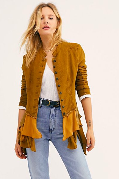 "Free People Blazer ""Military Ruffles"""