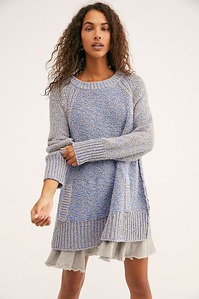 "Free People Sweater Dress ""Blue Morning View"""