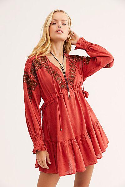 "Free People Mini Dress ""Red Moonshiner"""