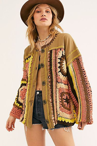 """Free People Sweater Jacket """"Patched Crochet"""""""