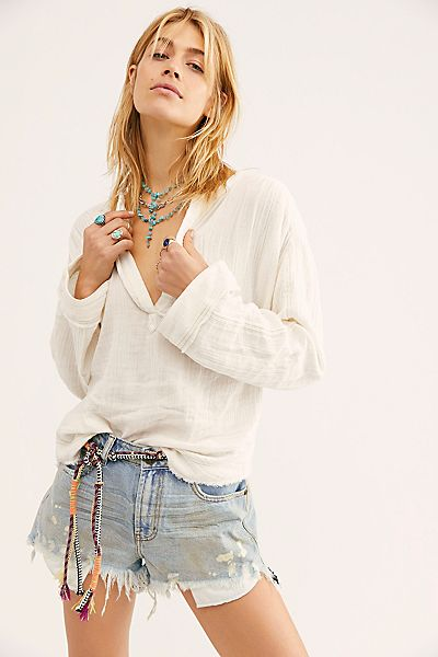 """Free People Top """"Anguilla Pullover"""""""
