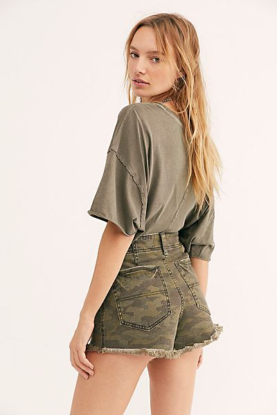 "Free People Denim Shorts ""CRVY Santa Cruz Camo"""