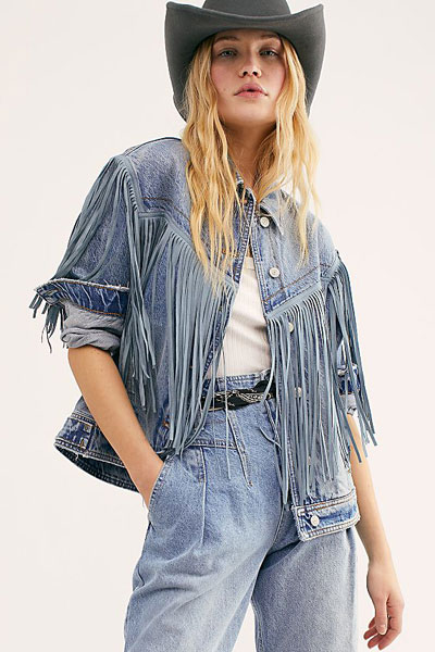 "Free People Fringe Denim Jacket ""After Hours"""