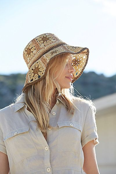 "Free People Straw Bucket Hat ""Summer Of Love"""