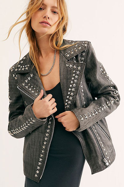 "Understated Leather Jacket ""Star Studded"""