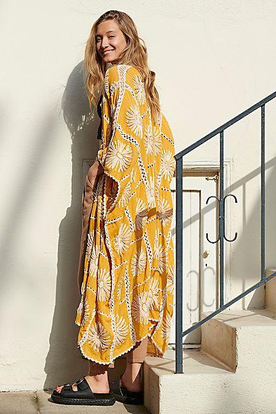 "Free People Kimono ""Flora Crochet"""