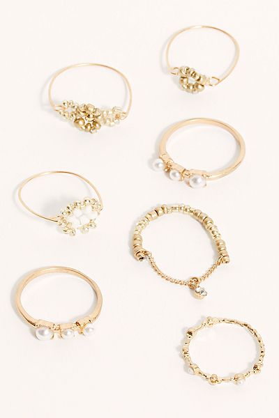 "Free People Ring Set ""Gold Pearl Sicily"""