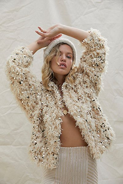 """Free People Jacket """"Camilla Sequin Feather"""""""