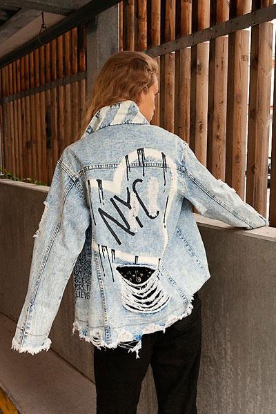 "Distressed Denim Jacket ""Love NYC"""
