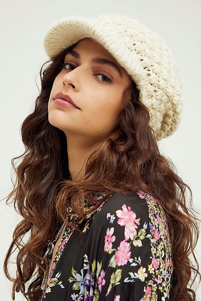 """Free People Hat """"Slouchy Bobble Knit Cabbie"""""""
