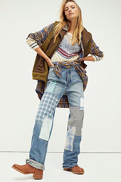 """Free People Jeans """"Steinbeck Patchwork"""""""