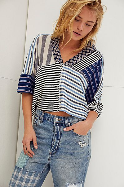 """Free People Slouchy Top """"Stripes"""""""