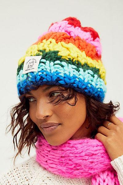 "Loopy Mango Hat ""Rainbow Stripe Knit Beanie"""