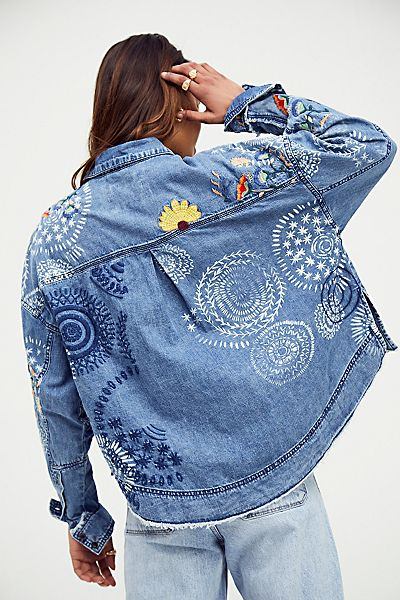"Free People Embroidered Denim Top ""Marrakesh"""