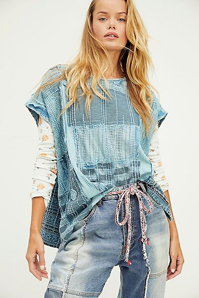 """Free People Top """"Patch Me Up Tee"""""""