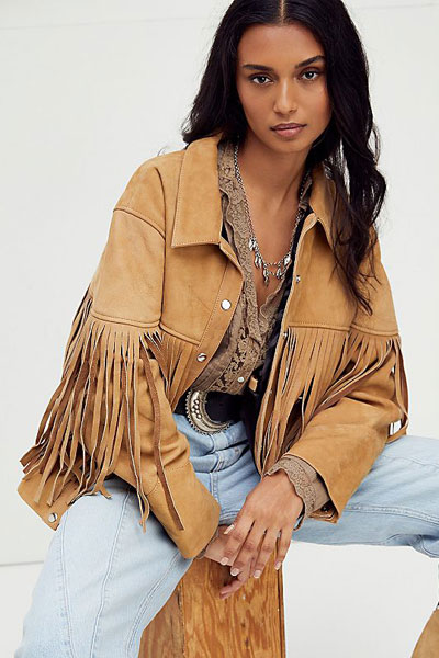 """Understated Leather Fringed Suede Bomber Jacket """"Howling Moon"""""""