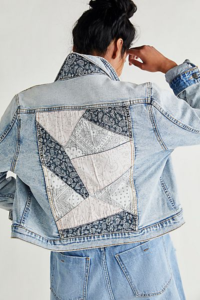 "Driftwood Denim Jacket ""Bandana Patchwork"""