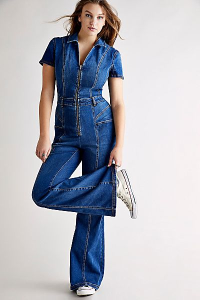 "Free People Denim Jumpsuit ""CRVY Love Letters retro One-Piece"""