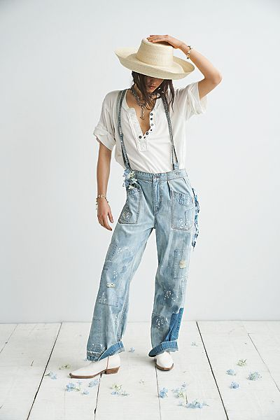 """Free People Jeans """"Always & Forever Patchwork Denim Overalls"""""""