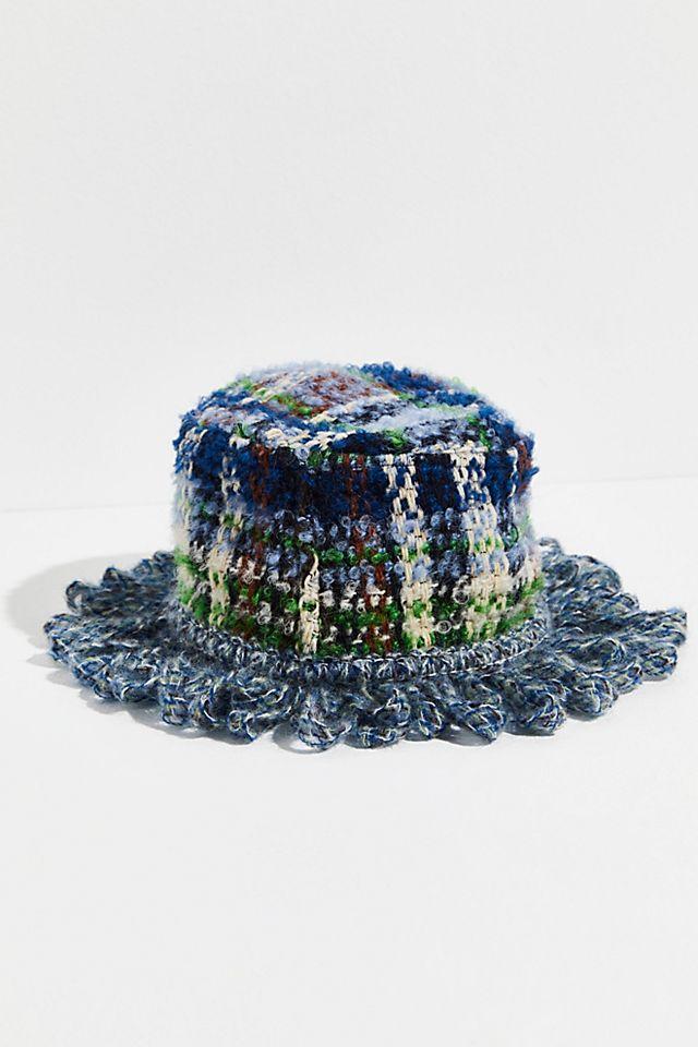 "Anna Sui Knit Bucket Hat ""Technicolor Tartan"""