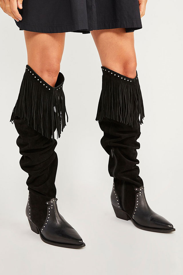 """Free People Fringe Over-The-Knee Boots """"Sage"""""""