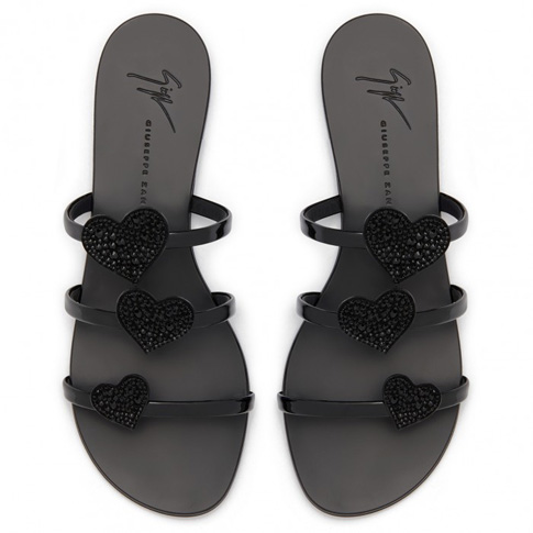 "Giuseppe Zanotti Flat Sandals ""Black Anya Love"""