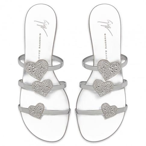 """Giuseppe Zanotti Flat Sandals """"Silver Anya Love"""""""
