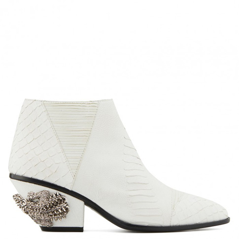 "Giuseppe Zanotti Boots ""White Kevan Alligator"" Women's Shoes"