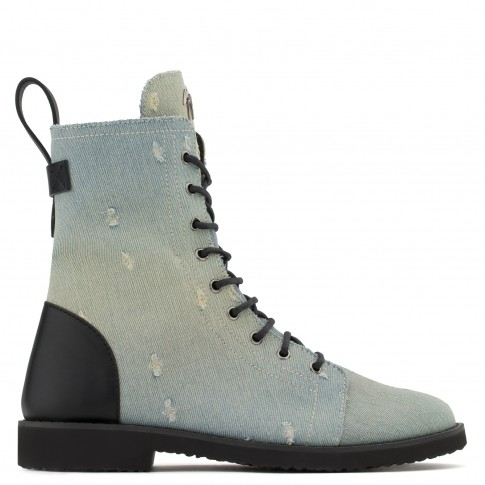 Giuseppe Zanotti Boots ARDELL Denim Biker Men's Shoes