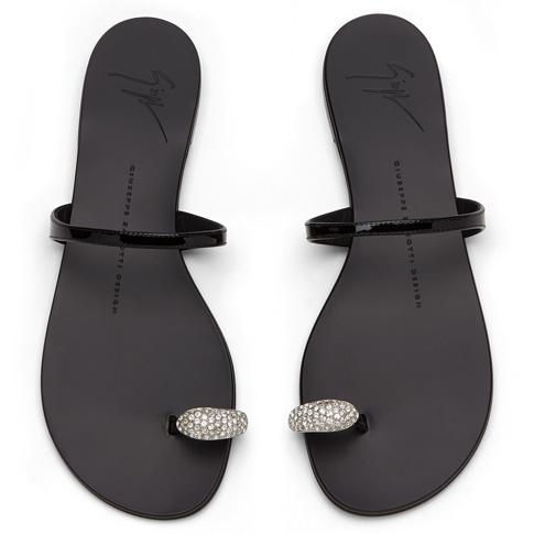 "Giuseppe Zanotti Women's Sandals ""RING"" Black Flats"