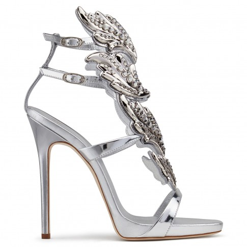 Giuseppe Zanotti Women Sandals CRUEL CRYSTAL Mirrored Silver