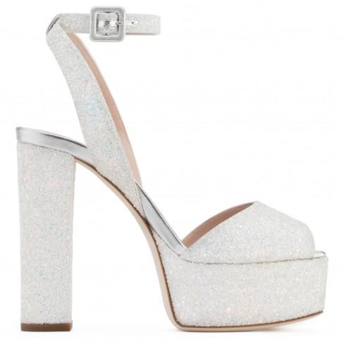 Giuseppe Zanotti Sandals - BETTY GLITTER - White Glitter Women's Clog