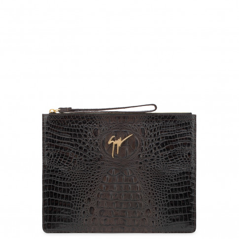 Giuseppe Zanotti Pouch MARCEL Brown Crocodile Embossed Leather Bag