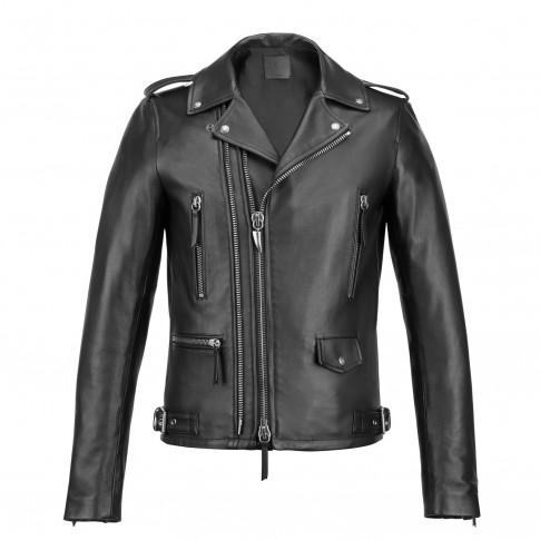 Giuseppe Zanotti DENZEL Black Leather Men's Biker Jacket