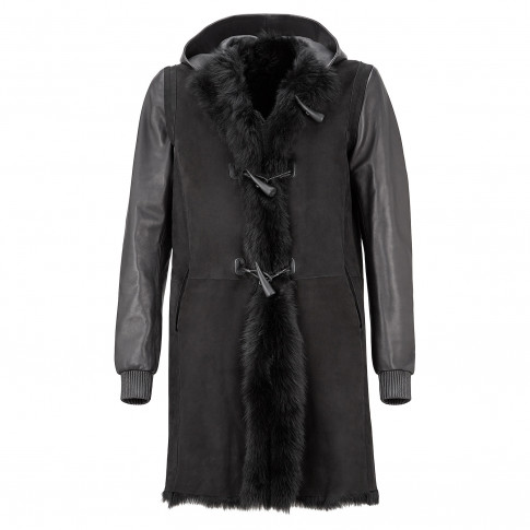 Giuseppe Zanotti BRADLEY Black Ram Reversible Men's Coat