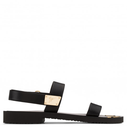 Giuseppe Zanotti - SHAUN - Black Calfskin Leather Men's Sandal With Gold Metal Bar