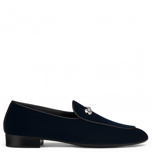 Giuseppe Zanotti Loafers - JACKSON - Men's Dark Blue Velvet Loafers