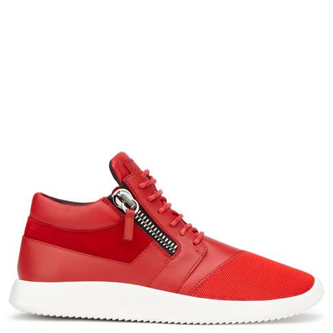 Giuseppe Zanotti Mid Tops - RUNNER - Men's Red Fabric Sneakers
