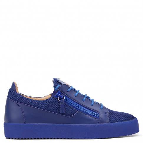 Giuseppe Zanotti Low Tops - FRANKIE - Men's Blue Fabric Leather Sneakers