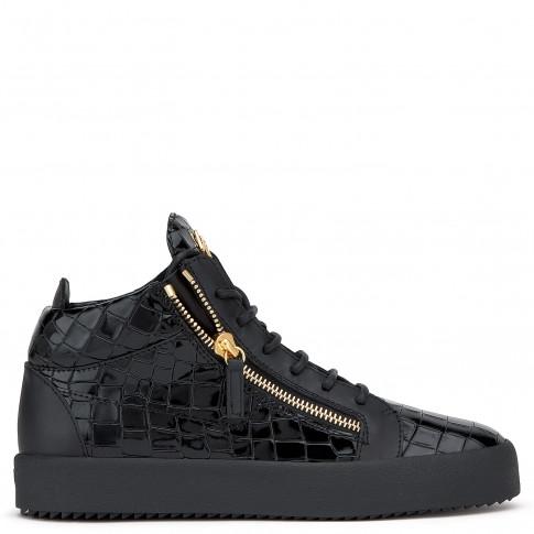Giuseppe Zanotti - KRISS - Black Patent Crocodile-Embossed Men's Mid-Top Sneaker