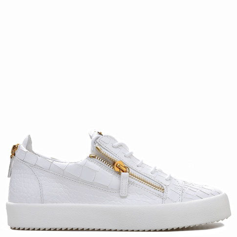 Giuseppe Zanotti Low Tops - FRANKIE - Crocodile Embossed - Men's White Shoes