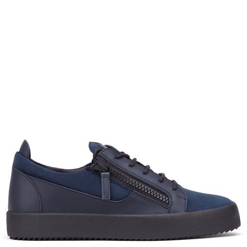 Giuseppe Zanotti Low Tops - FRANKIE - Men's Blue Suede Leather Sneakers