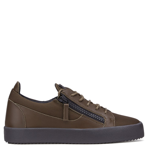 Giuseppe Zanotti Low Tops - FRANKIE - Men's Green Military Fabric Leather Sneakers