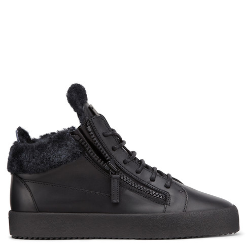 Giuseppe Zanotti Mid Tops - KRISS - Fur - Men's Black Sneakers
