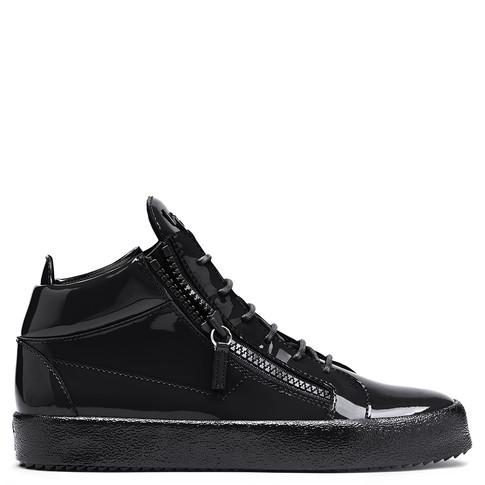 Giuseppe Zanotti Mid Tops - KRISS - Men's Black Patent Leather Sneakers