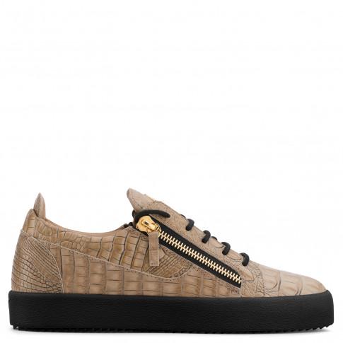 Giuseppe Zanotti - FRANKIE - Beige Crocodile-Embossed Leather Men's Sneakers