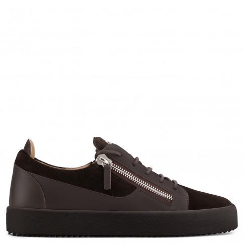 Giuseppe Zanotti - FRANKIE - Brown Suede Calfskin Leather Men's Sneaker