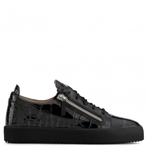 Giuseppe Zanotti - FRANKIE - Black Crocodile-Embossed Pantent Men's Sneakers