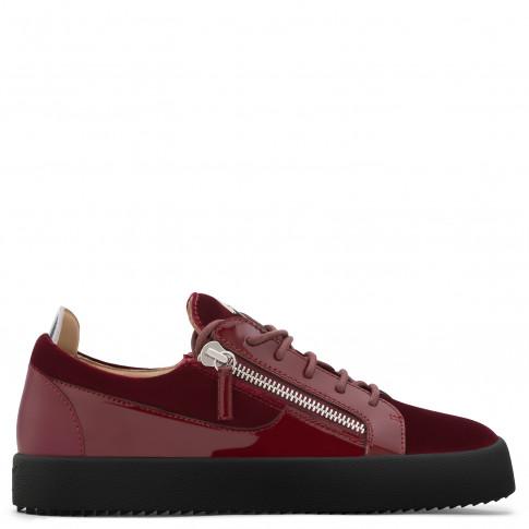 Giuseppe Zanotti - FRANKIE - Dark Red Velvet Low-Top Men's Sneakers