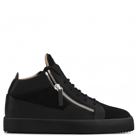 Giuseppe Zanotti - KRISS - Black Suede And Calfskin Mid-Top Men's Sneakers